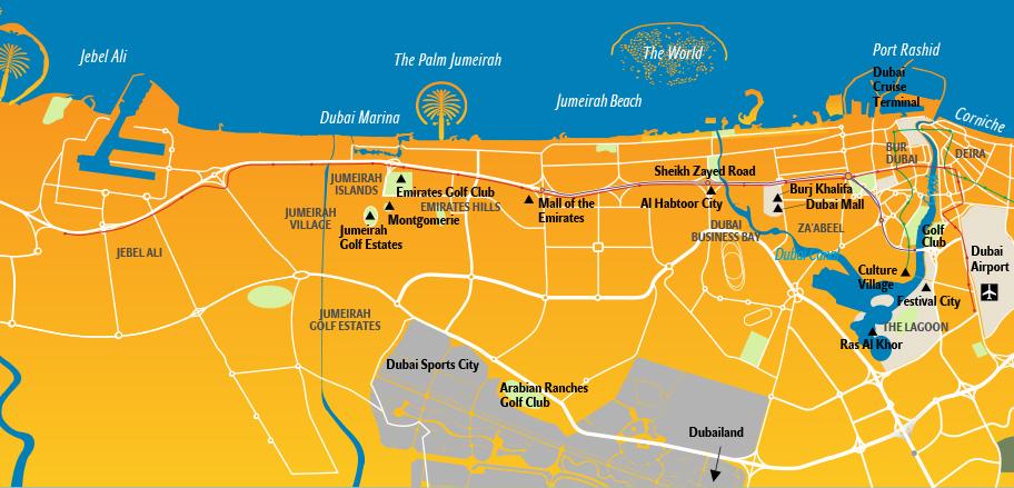 Dubai Karte, Stadtplan mit Sehenswürdigkeiten